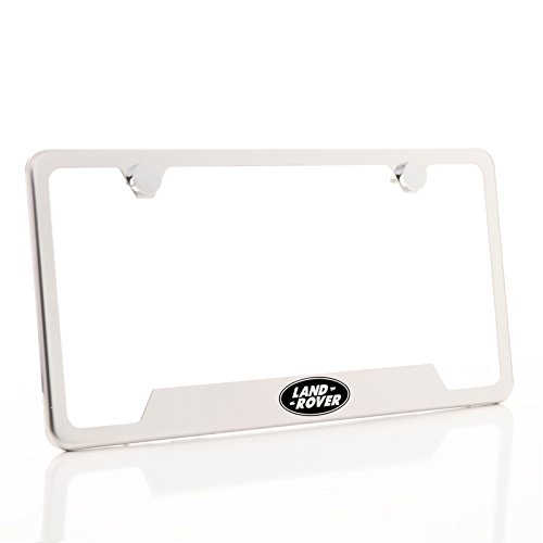 Lettering Out Cut - KA Depot One Land Rover Logo on Chrome Bottom Cut Out Stainless Steel License Plate Frame Holder Front Or Rear Bracket Laser Etched Black LetteringAluminum Screw Cap