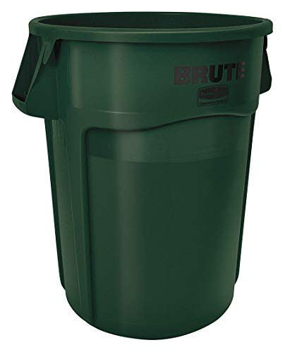 Rubbermaid FG264300DGRN 4506112 Brute Round Container, 44 gal Capacity, Green