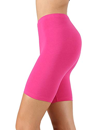 Womens & Plus Soft Cotton Stretch Knee Length Leggings Fitness Sport Biker Shorts, (HOT Pink, Large) -