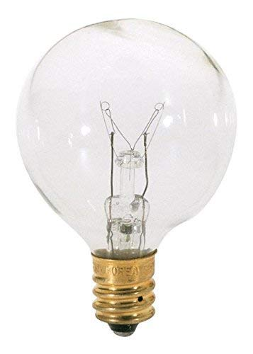 Satco 10G12 1/2 Incandescent Globe Light, 10W E12 G12 1/2 Pear, Clear Bulb [Pack of 24]