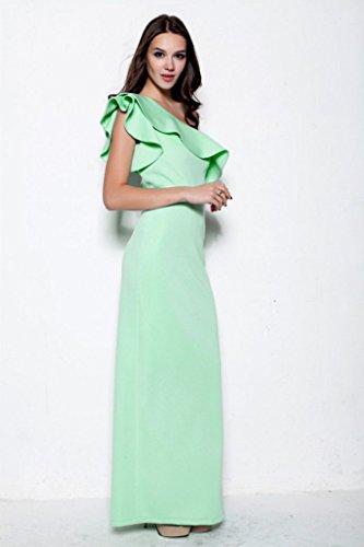 One Linie Rosa Rüschen Kurzarm A Beauty Shoulder Abendkleider Maxi Emily XwqxB1