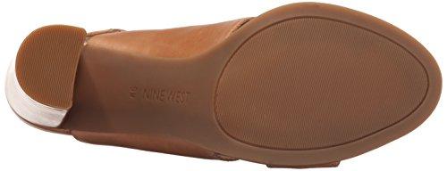 Nine West Poplock de cuero de tacón de la sandalia Medium Natural