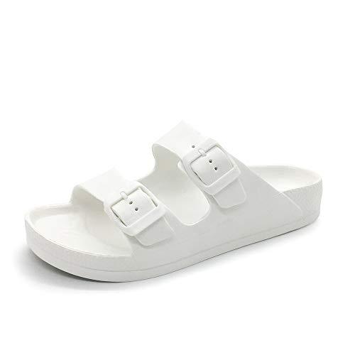 FUNKYMONKEY Women's Comfort Slides Double Buckle Adjustable EVA Flat Sandals (7 M US-Women, White)