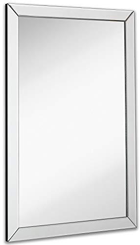 Hamilton Hills Large Flat Framed Wall Mirror with 2 Inch Edge Beveled Mirror Frame| Premium Silver Backed Glass Panel (24