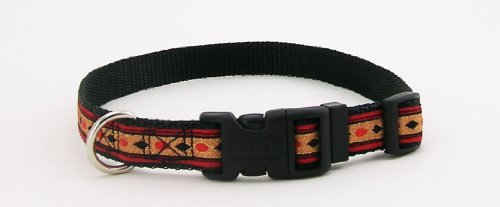 Pet Attire Ribbon Black Jack Print Adjustable Dog Collar Size from 18 to 28 Inches with a Width of 1 (Adjustable Ribbon Dog Collar)