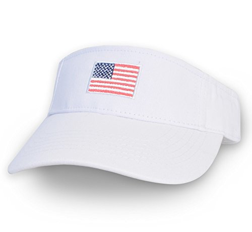KC Caps Men American Flag Sports Tennis Golf Sun Visor Hat Patriotic Women Polo Sun Cotton Twill Embroidered Adjustable Velcro - Mens Polo Visor