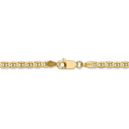 ICE CARATS 14k Yellow Gold 3mm Concave Link Anchor Chain Anklet Ankle Beach Bracelet Fine Jewelry Ideal Mothers Day Gifts For Mom Women Gift Set From Heart