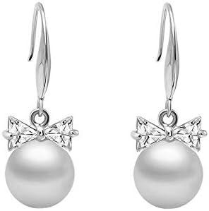 Pendientes de lazo de niña Pendientes largos de perlas de sección larga para mujer Pendientes de personalidad de temperamento