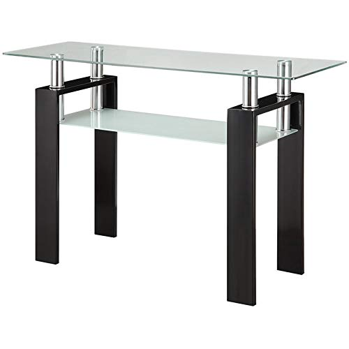 BOWERY HILL Glass Top Console Table in Black