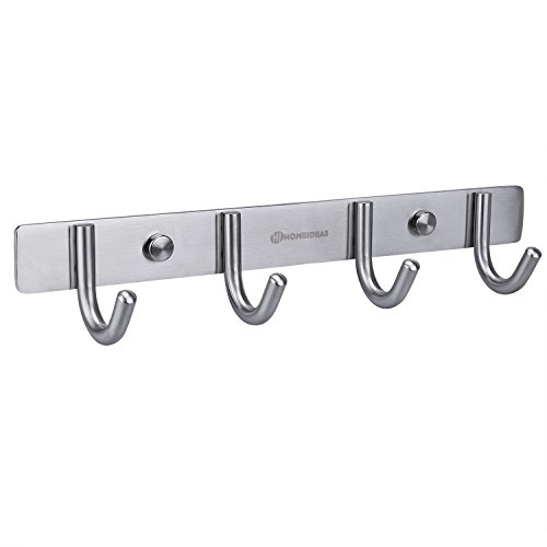 HOMEIDEAS 11-Inch Coat Hooks SUS304 Stainless Steel Wall Mounted Coat Rack Towel Hook with 4 Heavy Duty Hooks,Wall Mount,Brushed Nickel