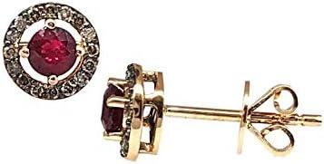 Pendientes de Oro Rosa de 18 quilates SAVVIDIS con Diamantes y Rubies