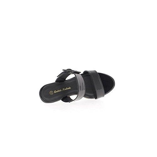 Sabots grande taille noirs à talons de 12cm et plateforme de 3cm