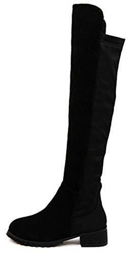 Easemax Women's Chic Sexy Round Toe Mid Chunky Heel Platform Splicing Slip On Knee High Boots Black 2 89t9pyAqr