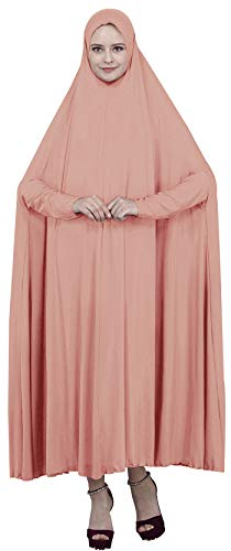 (Ababalaya Women's Muslim One-piece Large Overhead Prayer Dress Hijab Abaya for Hajj Umrah,Shrimp Pink,Tag L Length 59 inch)