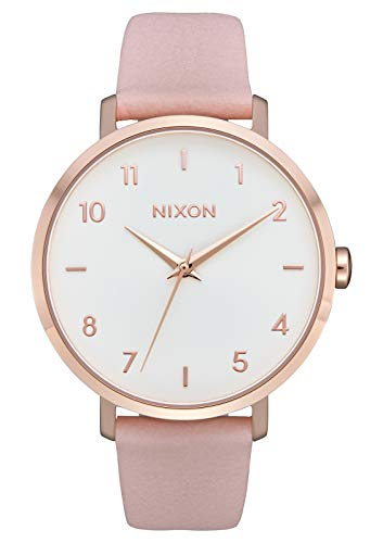 Pink Leather Watch (Nixon Arrow Leather Rose Gold/Light Pink Casual Women's Watch (38mm. Rose Gold & White Face/Light Pink Leather Band))