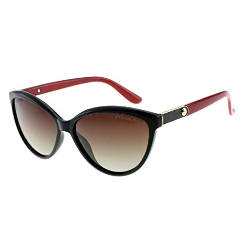 Shades Classic Oversized Polarized Sunglasses for Women 100% UV Protection (RED, GRAD.BROWN) (Best Polarized Sunglasses 2019)