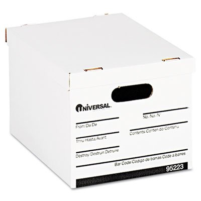 Double-end, single-side construction. - UNIVERSAL OFFICE PRODUCTS Economy Storage Box, Lift-Off Lid, Letter/Legal. White, (Universal Office Economy Storage)
