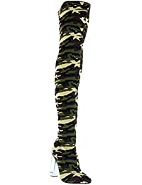 Demi-01 Over Knee Thigh High Heel Camouflage Army Pointed Pointy Toe Boots Green