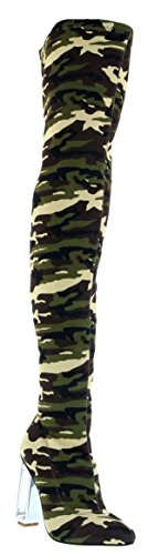 High Heel Army Boots (Pinky Demi-01 Over Knee Thigh High Heel Camouflage Army Pointed Pointy Toe Boots Green 9)