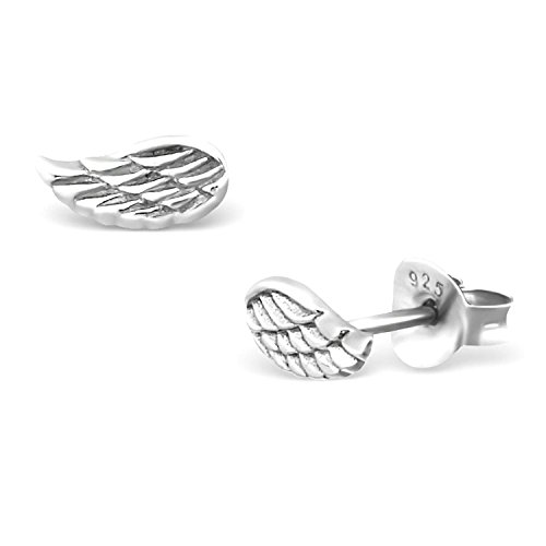 Small Dainty Angel Wings Studs Earrings 925 Sterling Silver Push Back