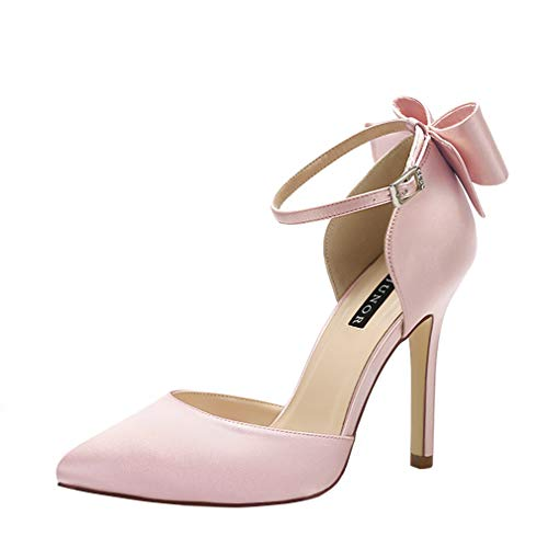 Bow Sandals Satin (ERIJUNOR E1966A Women High Heel Bow Ankle Strap Evening Party Dance Wedding Satin Shoes Blush Size 10)