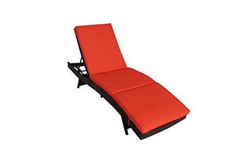 Outdoor Patio Brown Rattan Wicker Adjustable Cushioned Chaise Lounge Chair(Orange Cushion)
