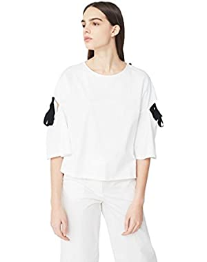 Mango Women's Side-Slit Bows T-Shirt