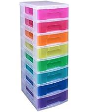 8 x 7 liter schuifladen, die stapelbaar zijn en in verschillende kleuren verkrijgbaar zijn