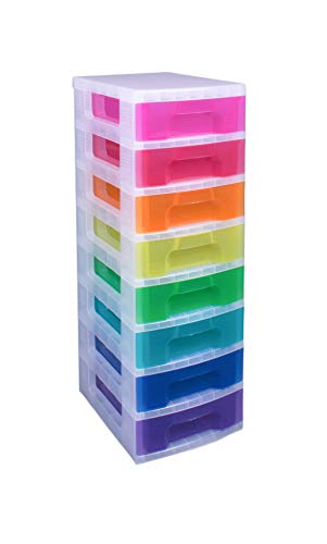 Really Useful Drawer Tower 8x7 Litre Clear/Rainbow (Rainbow 8 Drawer Rolling Chest By Recollections)