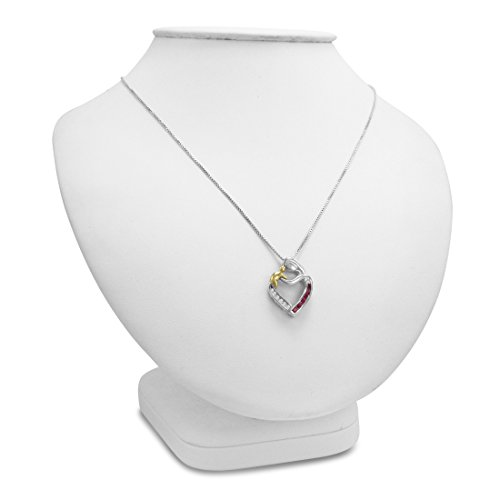 Créé Pierre précieuse et diamant Mère et enfant Cœur Pendant-necklace