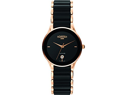 Roamer Ceraline Saphira Women's Quartz Watch with Black Dial Analogue Display and Black Stainless Steel Bracelet 677981 49 55 60