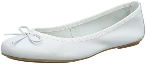 22165 Donna White Tamaris Bianco Leather Ballerine 4wd1f1