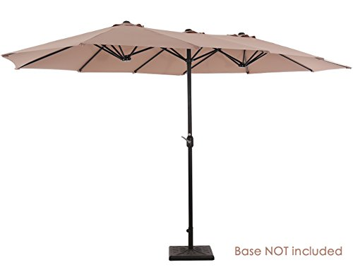 SUPERJARE 14 Ft Outdoor Patio Umbrella, Extra Large Double-sided Design with Crank, 100% Polyester Fabric - Beige (Large Deck Umbrellas)