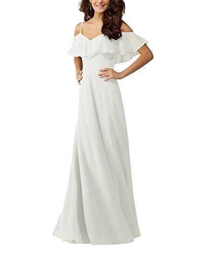 Lafee Bridal Off Shoulder Ruffle Chiffon Long Prom Evening Gown Bridesmaid Dress White Size 18W