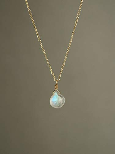 Rainbow Moonstone necklace - dainty and delicate - A tiny teardrop moostone on a 14k gold vermeil chainLong charm, Silver,rose gold, Gemstone Pendant Black onyx red garnet by custom jewelry gems ()