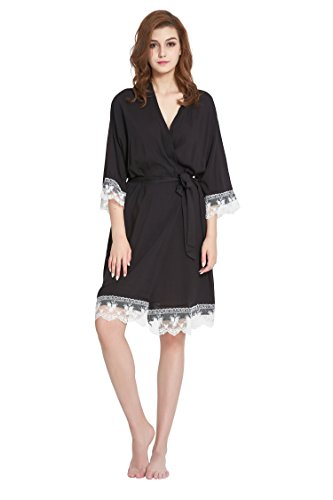 Women's Robe Soft Cotton Solid Color Kimono with Floral Lace Trim ,3/4 Sleeves (Small, Black)