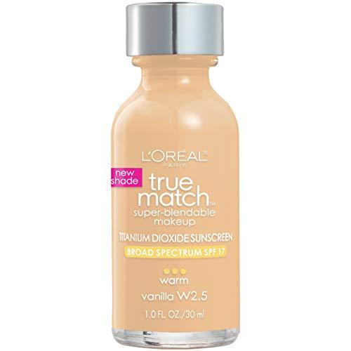 L'Oreal Paris Makeup True Match Super-Blendable Liquid Foundation, Vanilla W2.5, 1 Fl Oz,1 Count (L Oreal True Match W2 Golden Vanilla)