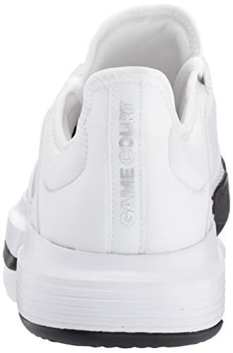 adidas Men's Gamecourt, White/Matte Silver/Black, 7.5 M US by adidas (Image #2)