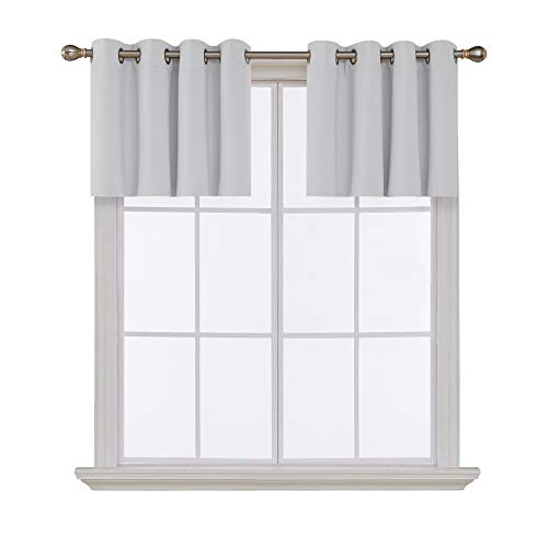 New Window Valance - Deconovo Greyish White Valances for Window Kitchen Valance Grommet Tier Curtains for Living Room 52x18 Inch 2 Panels
