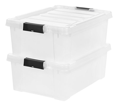IRIS 11.75 Gallon Store-it-All Heavy Duty Stackable Utility Tote, Clear with Black Buckle