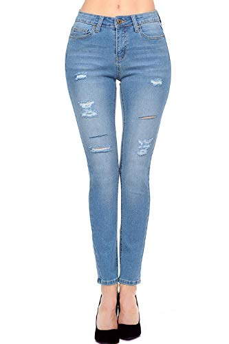 (TwiinSisters Women's Butt Lift Mid-Rise Stretch Denim Skinny Jeans with Spandex)