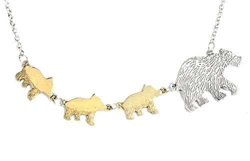 Sweet - Mama And Baby Bear Necklace - Two Tone - Three Babies - Mothers Day - Motherly Love - 3 ()