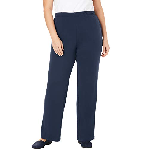 Woman Within Women's Plus Size 7-Day Knit Wide Leg Pant - Navy, 3X