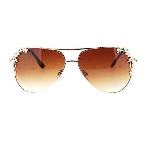 Womens Metal Flower Foliage Trim Tear Drop Fashion Aviator Sunglasses - Sunglasses Flowers