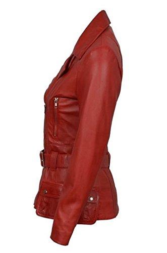 Mesdames Designer Rétro féminin en cuir rouge Femme longue Motard Veste