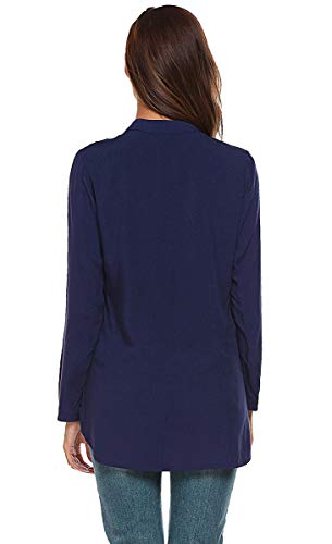 Manica Shirts Lunga Camicie Tops BLACKMYTH Collo High Casual V Low Navy Tinta Camicetta Donna Unita xwpg0