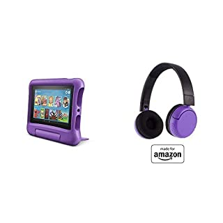 Fire 7 Kids Tablet 16GB Purple with Poptime (Ages 8-15) Bluetooth Headset