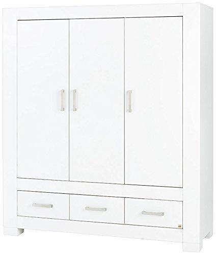 Pinolino 143413G Kleiderschrank Ice groß Edelmatt MDF Uni, weiß lackiert