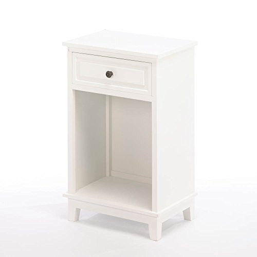 Smart Living Company Traditional White Wood Side Table with Drawer by Tom & Co.