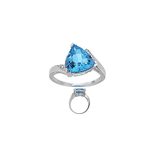Accented Ring Trillion - 0.02 Ct Diamond & 4.01 Ct 10 mm AAA Trillion Blue Topaz Ring in 14KW Gold - Valentine's Day Sale